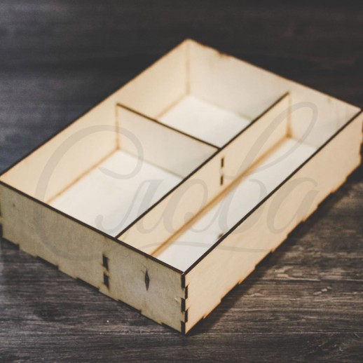 Коробка под цветы и сладости, 3 секции, фанера К005