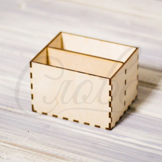 Коробка под цветы и сладости, 2 секции, фанера К007